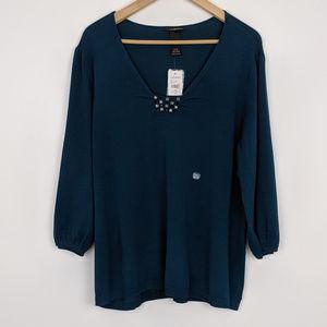 NWT Lane Bryant | Teal Jeweled V-neck Sweater